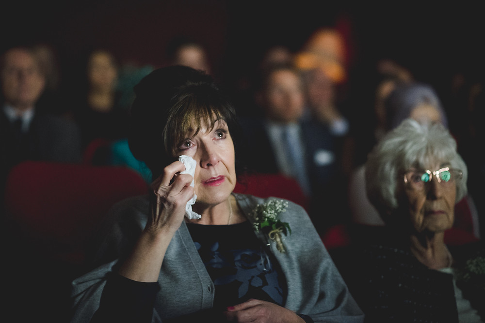 emotional wedding guest at birmingham's electric cinema