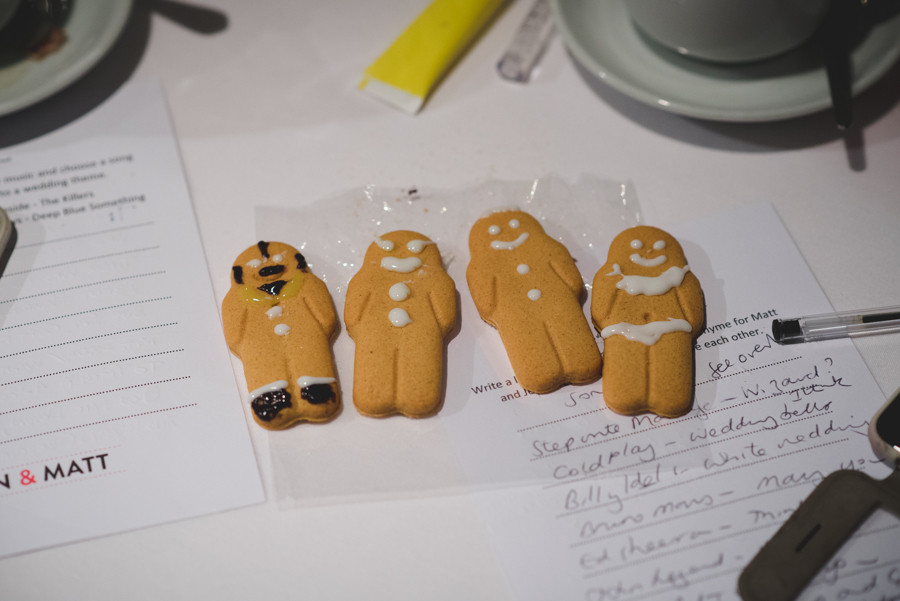 Ice the gingerbread man at Fazeley Studios winter wedding