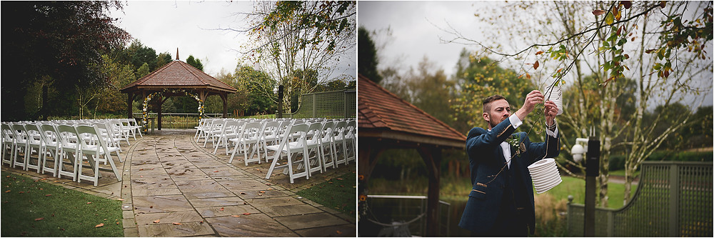 Moddershall Oaks set up for an open air wedding ceremony