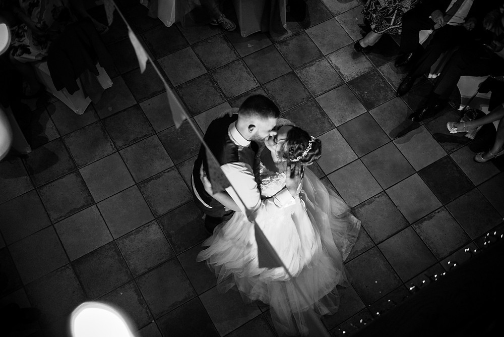 Bride & Groom having first dance at Hundred House Hotel in Shropshire