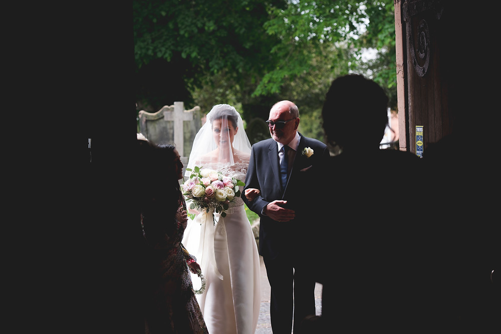 Bride with her father before wedding in Brewood