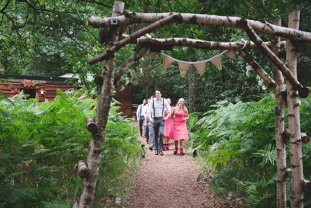 Bridal party arriving for woodland blessing at Enchanting Woodland weddings