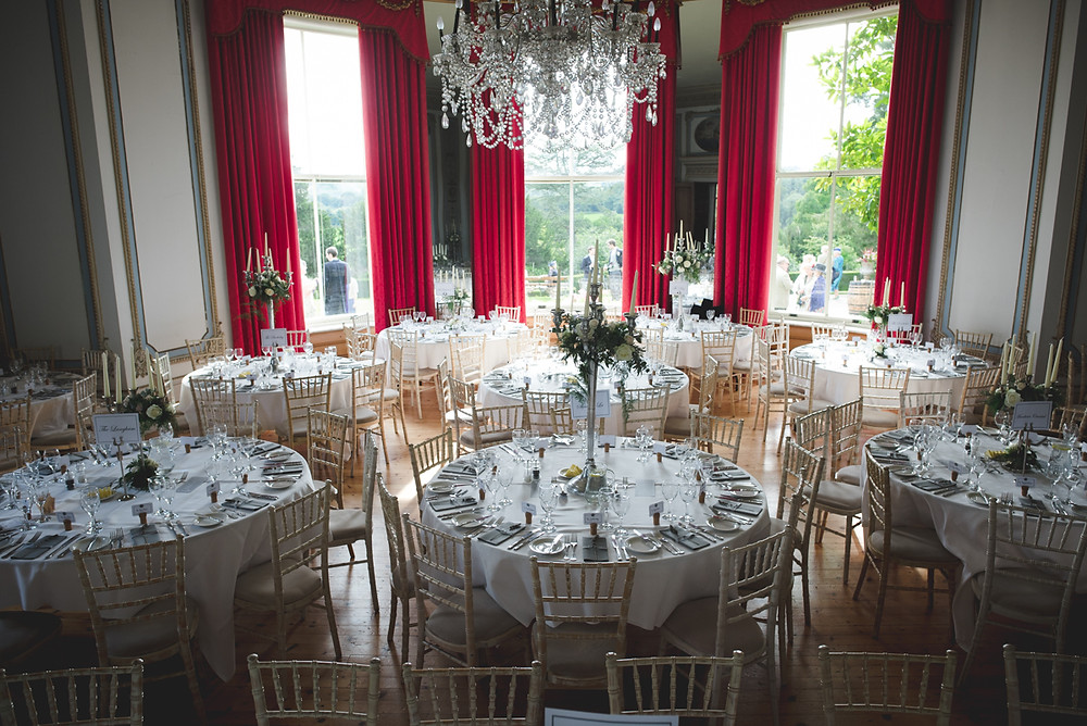 Palladian style room at Whitbourne Hall set up for wedding breakfast