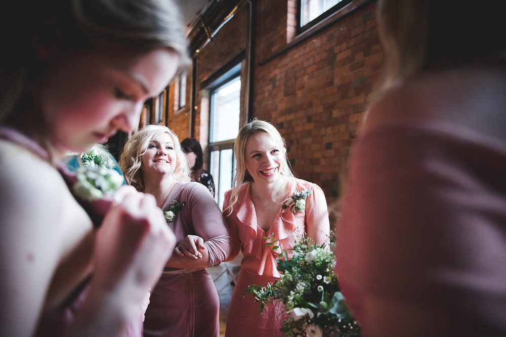 laughing bridesmaids at bristol wedding