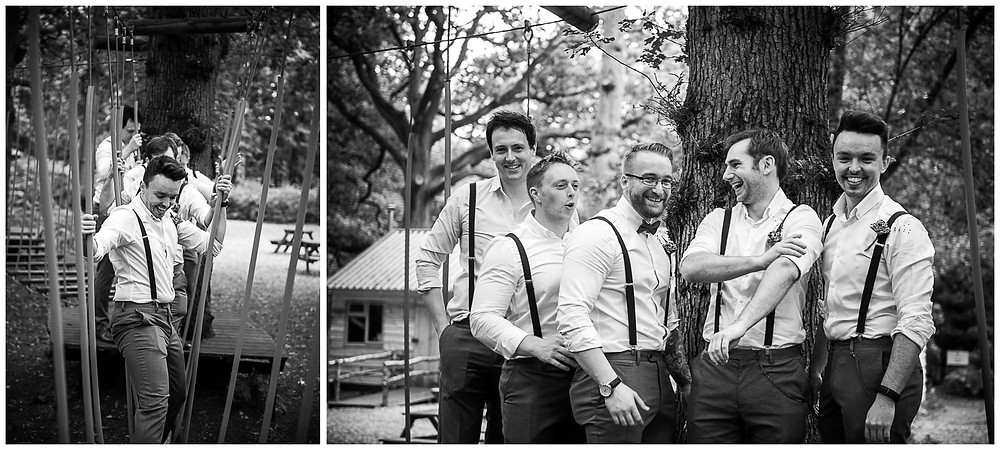black & white photograph of groomsmen at enchanting wonderland weddings