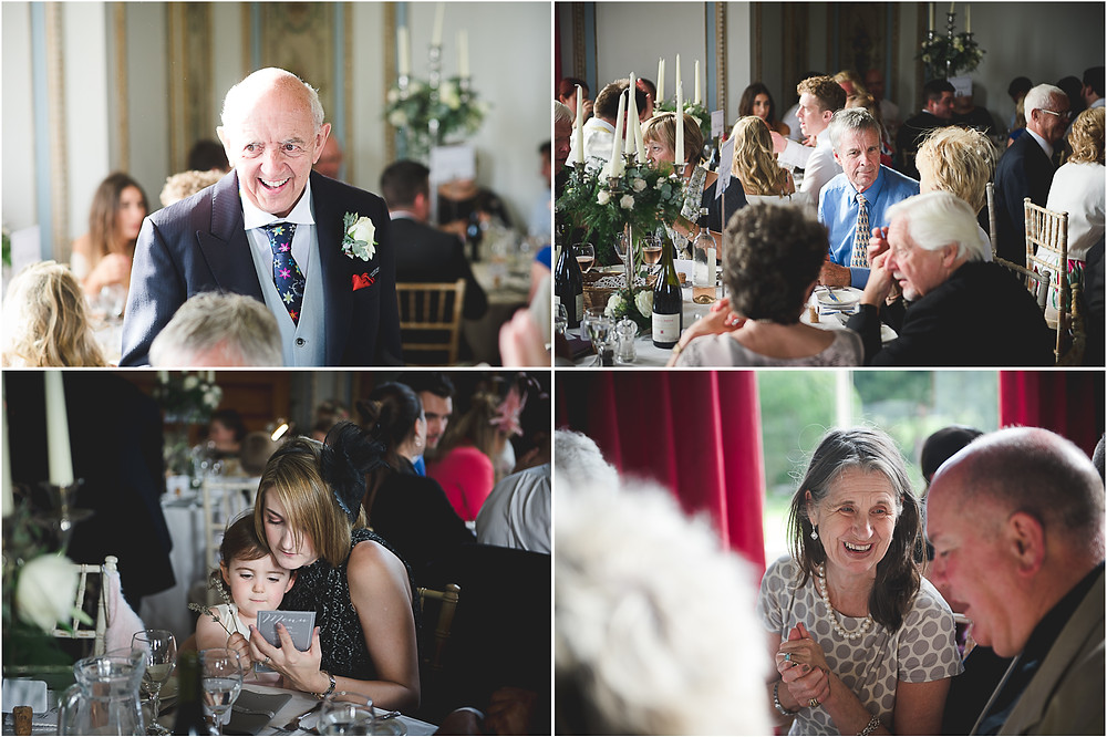 Wedding guests during wedding breafast at Whitbourne Hall