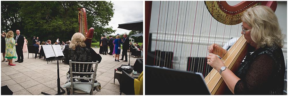 harpist at Somerford Hall wedding
