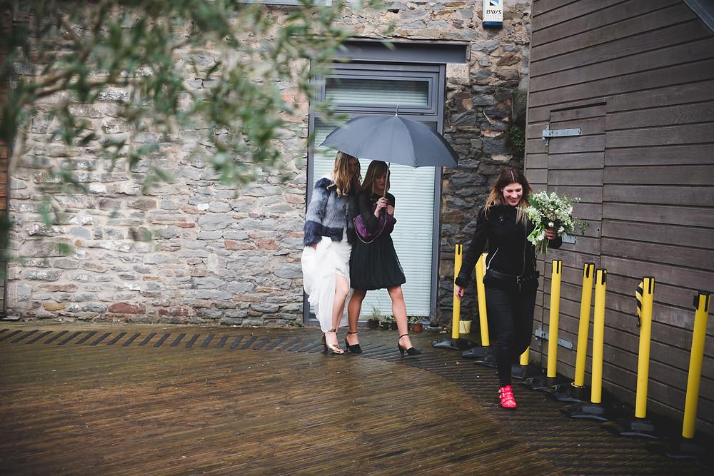 bride arriving at bristol paintworks for her wedding