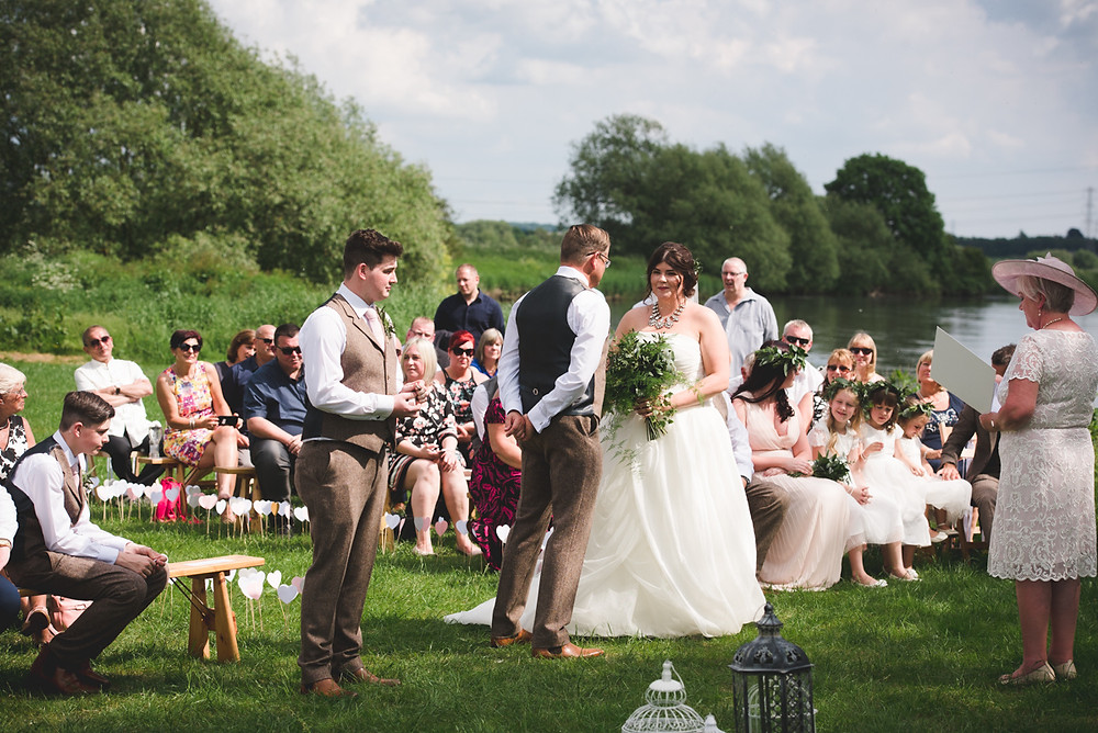 River Trent in background for open air wedding ceremony
