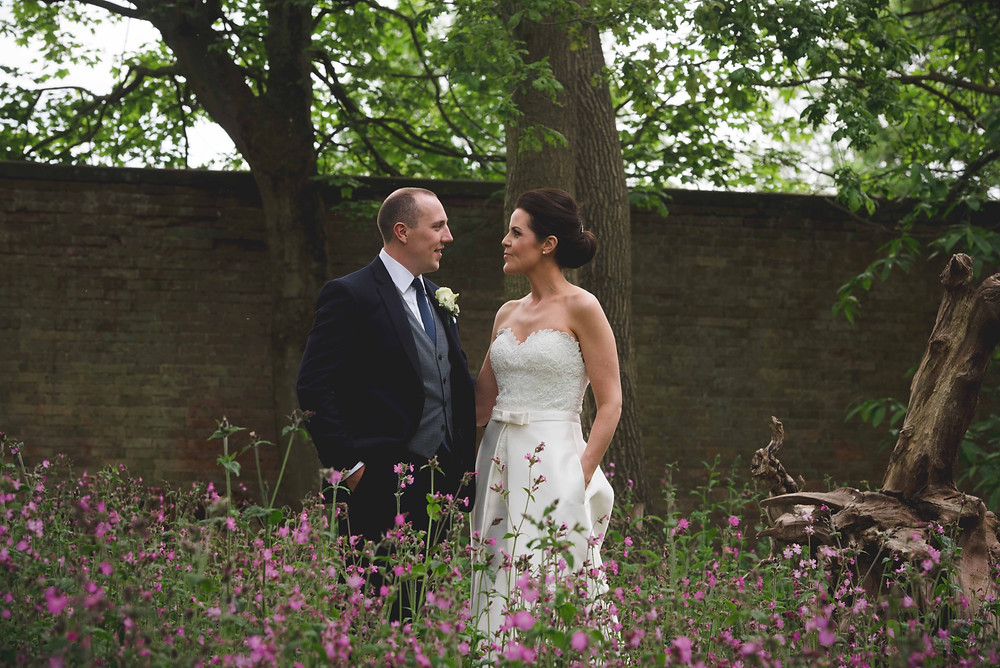 bride & groom portrait at Somerford Hall wedding