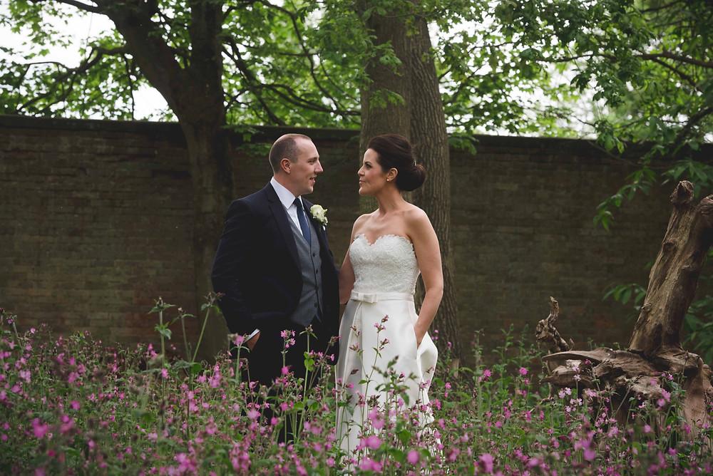 bride & groom portrait at Somerford Hall wedding