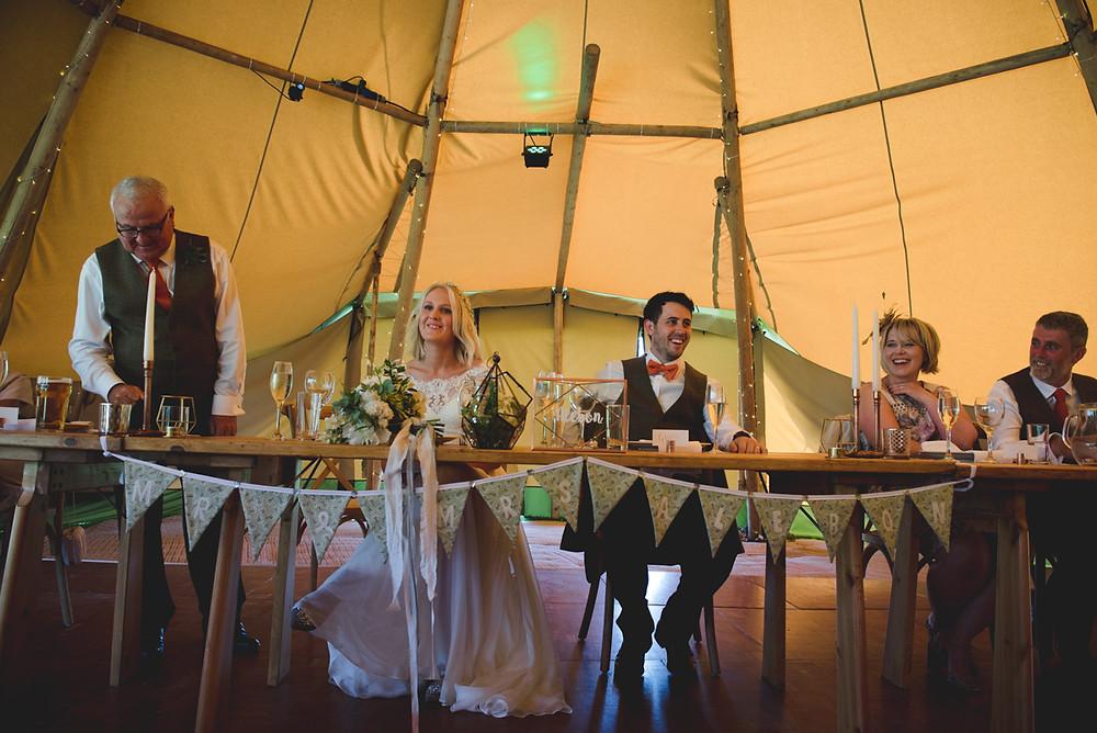 tipi wedding speeches at Herefordshire wedding