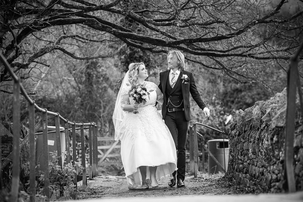 Bride & Groom in Bibury after their Cripps Barn wedding