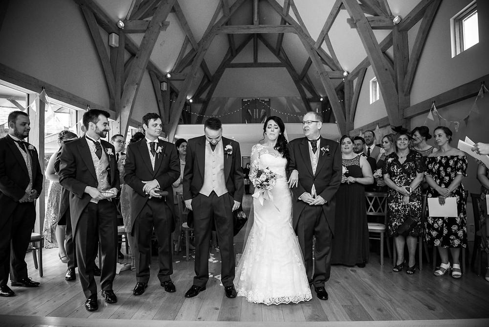 Emotional Bride at the start of her Bridgnorth barn wedding