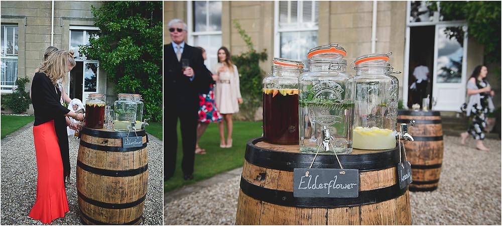 Kilner jars for drinks at Herefordshire wedding reception