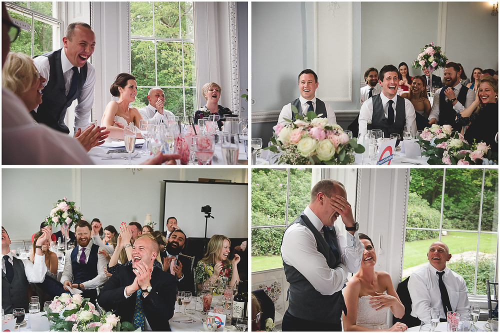 guests laughing during grooms speech at Staffordshire wedding