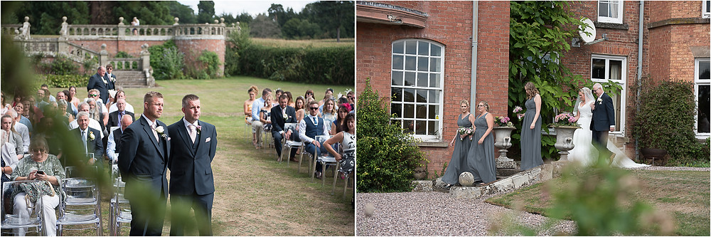 Groom waiting for the bride to arrive at outdoor Henley Hall wedding