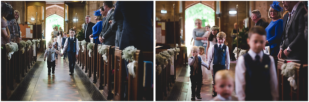 Paige boys arriving at Brewood church wedding