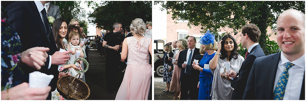 guests getting ready to throw confetti at Brewood church