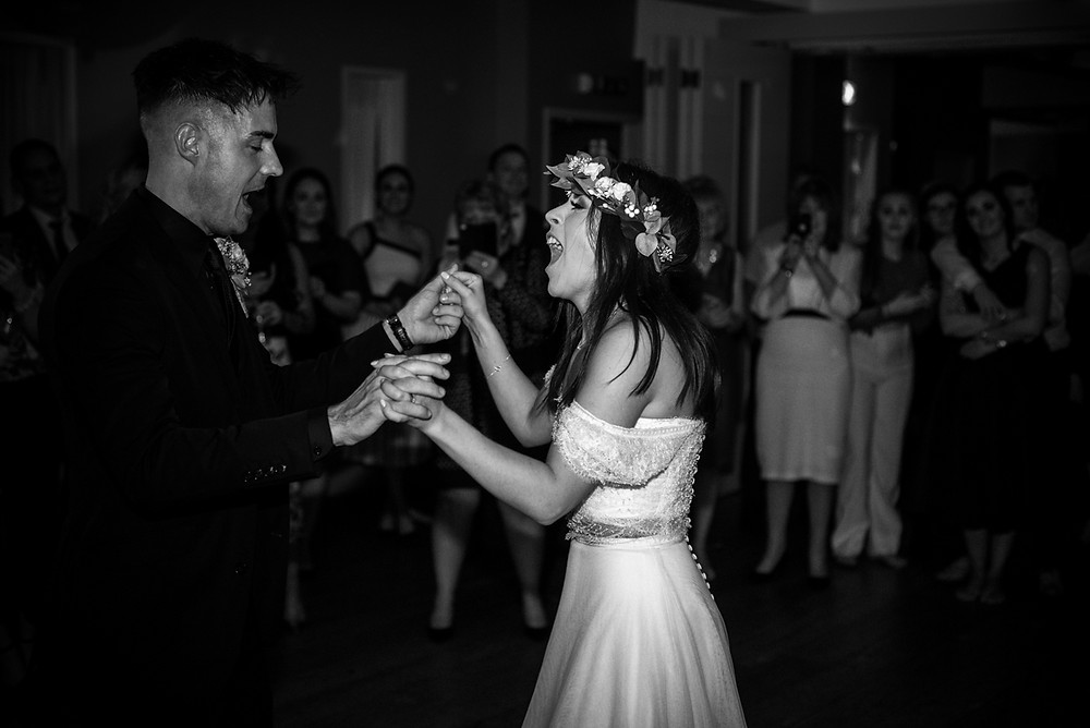 black & white photograph of the first dance at wedding reception at Birmingham penthouse