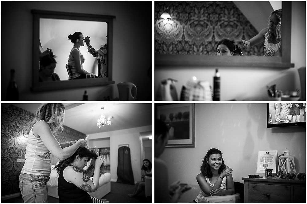 Black & white images from wedding preparations