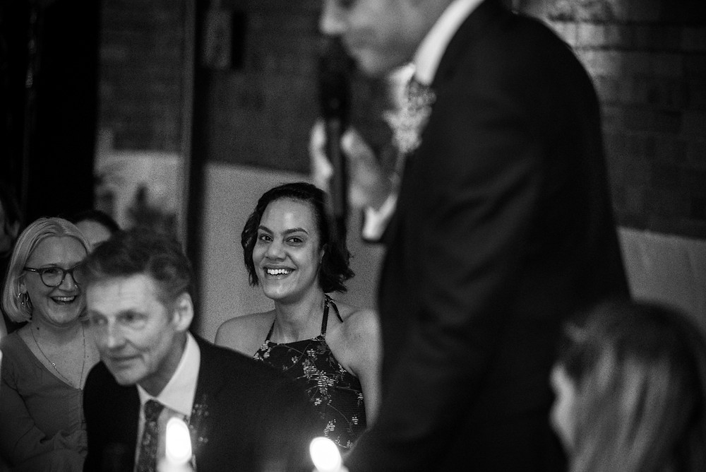 reportage wedding photograph during speeches at south west wedding
