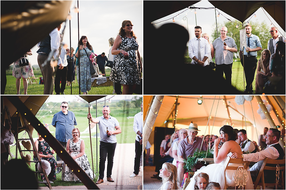 Montage of images during wedding specches in tipi at Cuttlebrook Farm