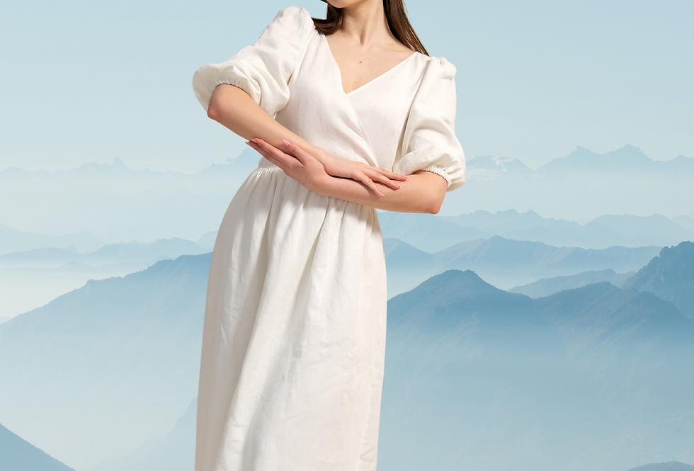 Linen White Dress, Linen Wrap Dress Maxi, Waist Tie Dress