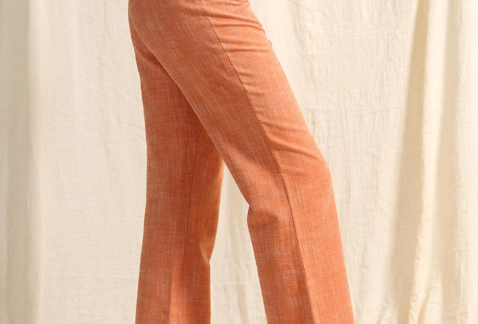 Linen Pants , High Waist Trousers, Orange Linen Pants
