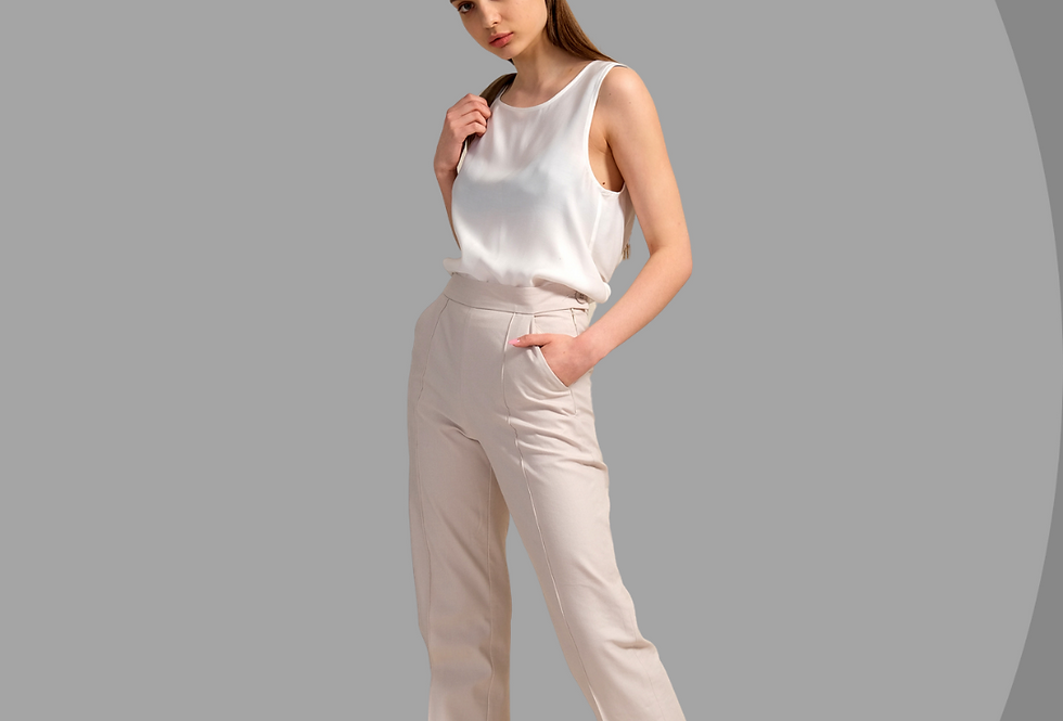 White Cotton Pants, Pants with Pocket, High Waist Trousers, Eco-Friendly Cotton