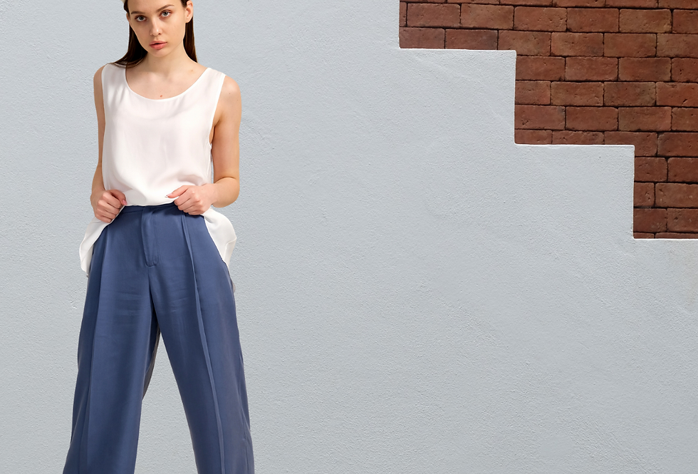 Eco Friendly Cotton Blue Pants, Pants with Pocket, High Waisted Trousers
