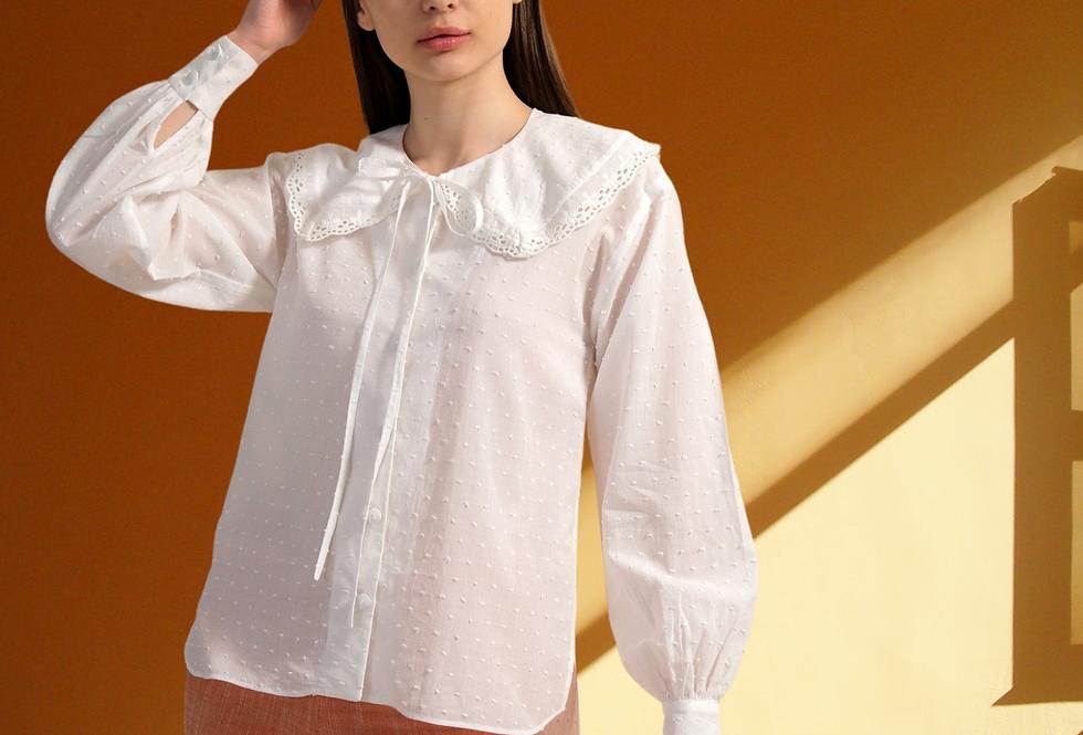 White Cotton Shirt, Crew Neck Shirt, Women White Blouse, Organic Cotton Shirt