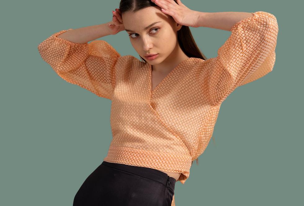 Sheer Shirt , Micro Stripe Cotton Shirt, Shirt with Bow Tie
