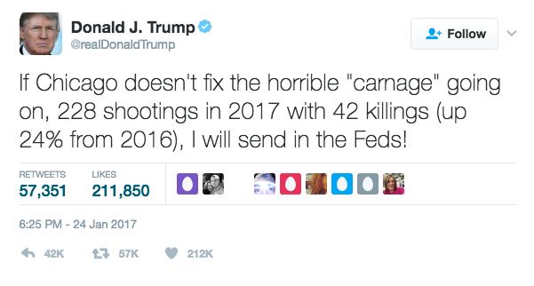 Trump Tweet on Chicago Carnage