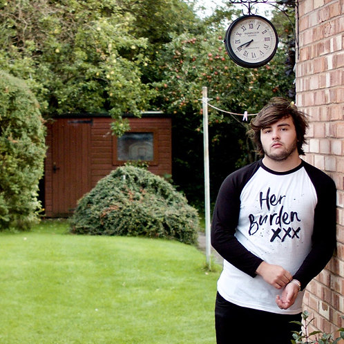 Her Burden White/Black Baseball Shirt