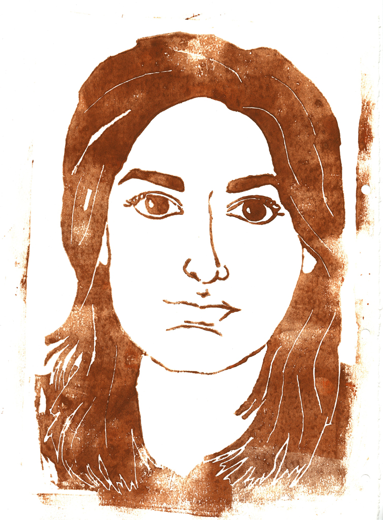 woodblock self portrait print projec