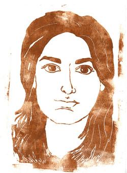 woodblock self portrait print projec