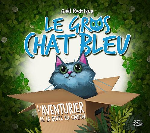 Gros chat Bleu - l'Aventurier de la boîte en carton