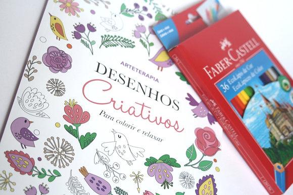 kit de livro de colorir + lápis