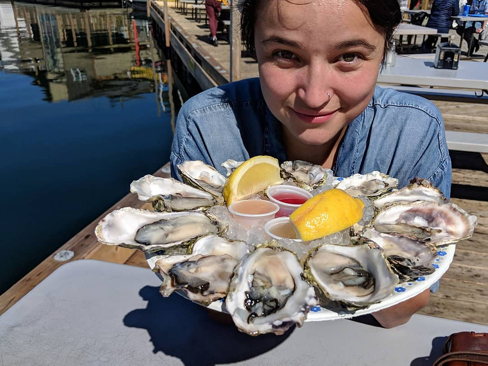A dozen oysters from The Floating Fish Store in Victoria, British Columbia