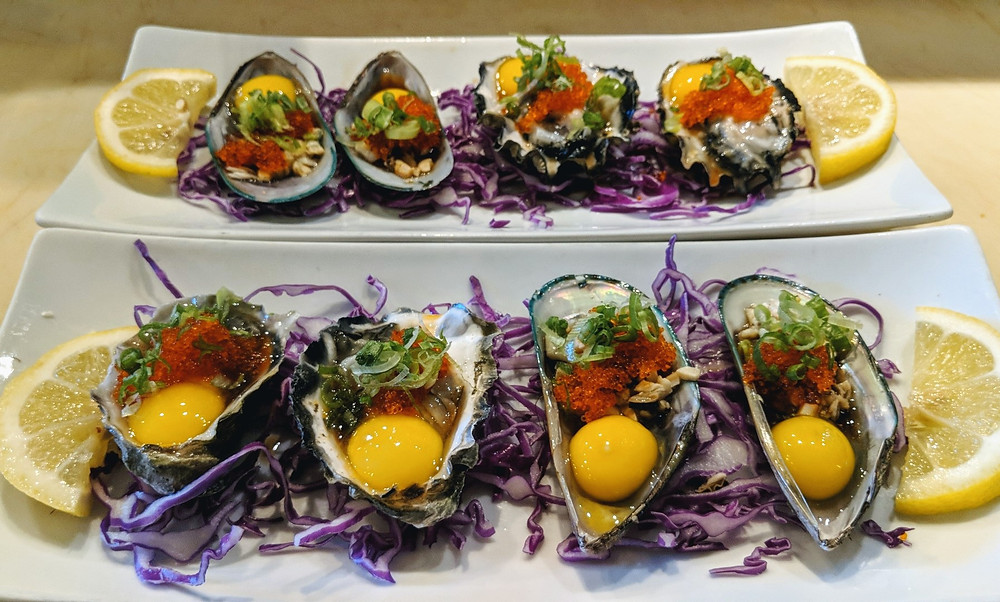 Oyster and mussel shooters from Kyoto Japanese Restaurants in Salt Lake City, Utah