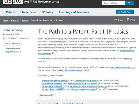 USPTO seminar series for independent inventors.