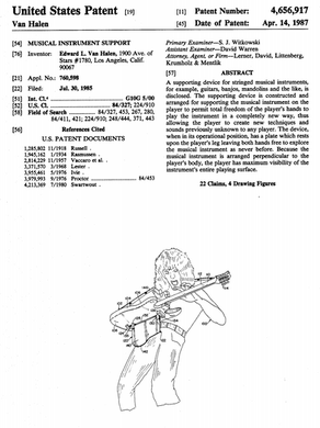 Eddie Van Halen's guitar patent - What an awesome guy!