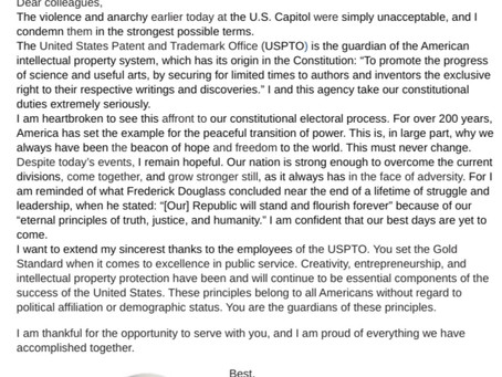 USPTO Commissioner's email to USPTO staff on the day the US Capitol was stormed by Trump's thugs