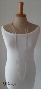 Lang zilveren collier met verwisselbare bovenkant