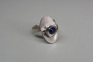 Zilveren verstelbare ring met Lapis lazuli