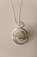 Zilveren lang collier met woestijnroos