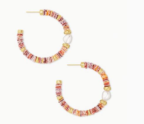 Lila Vintage Gold Hoop Earrings In Pastel Shells