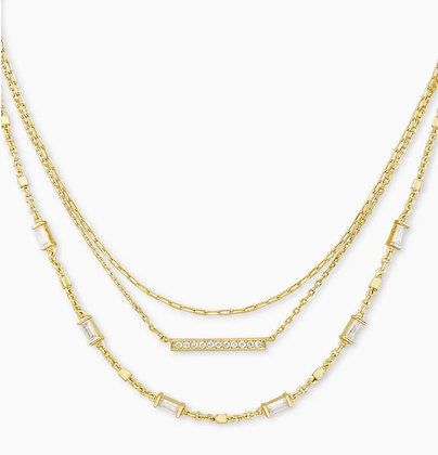 Kendra Scott Addison Triple Strand Necklace In Gold