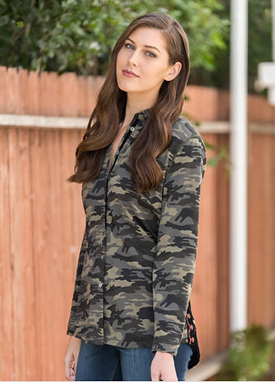 Camo front/velvet embroidery back blouse